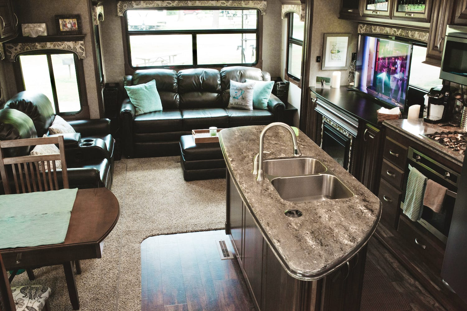 Interior view of back of Jayco Pinnacle FBTS living space.